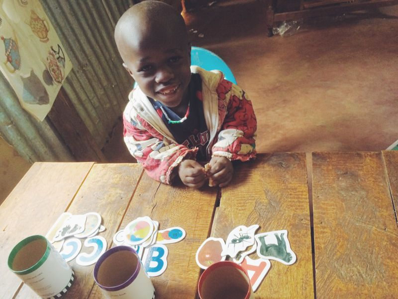 Sammy working on letters and matching.