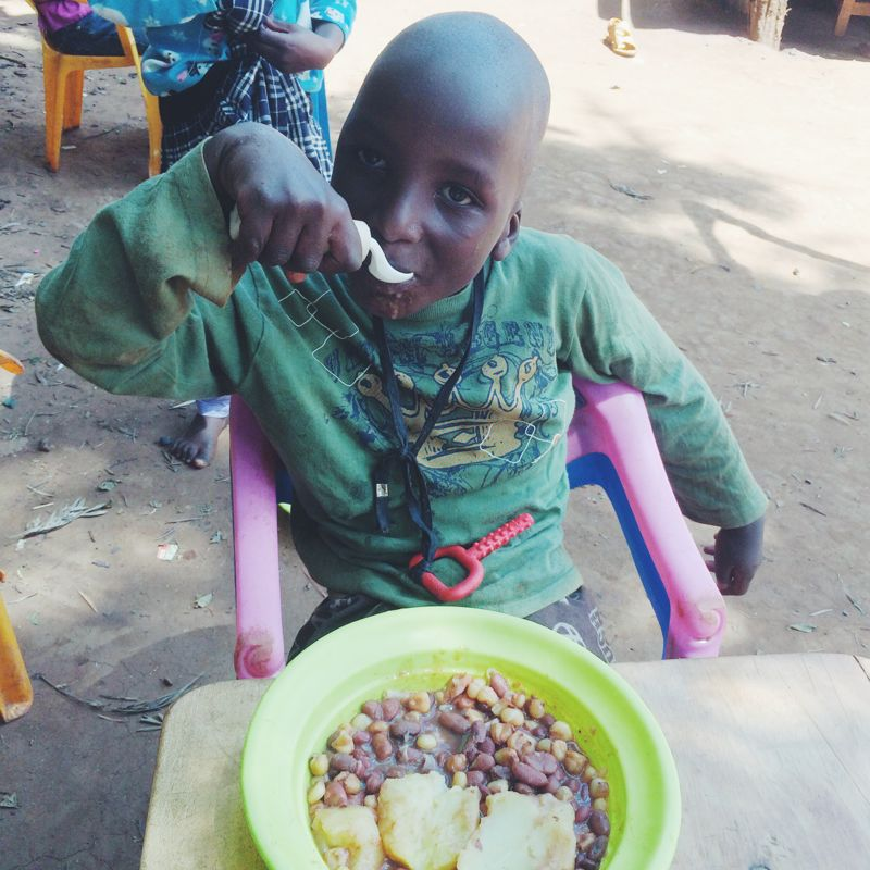We received special spoons to help Manu be able to eat on his own.