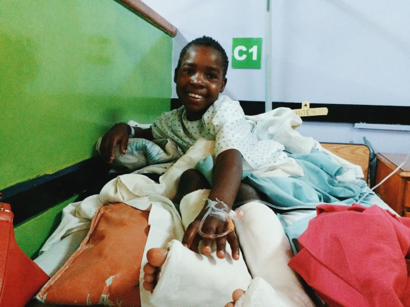 Quinta after her operation. She had casts for six weeks to make sure that she had time to heal properly.